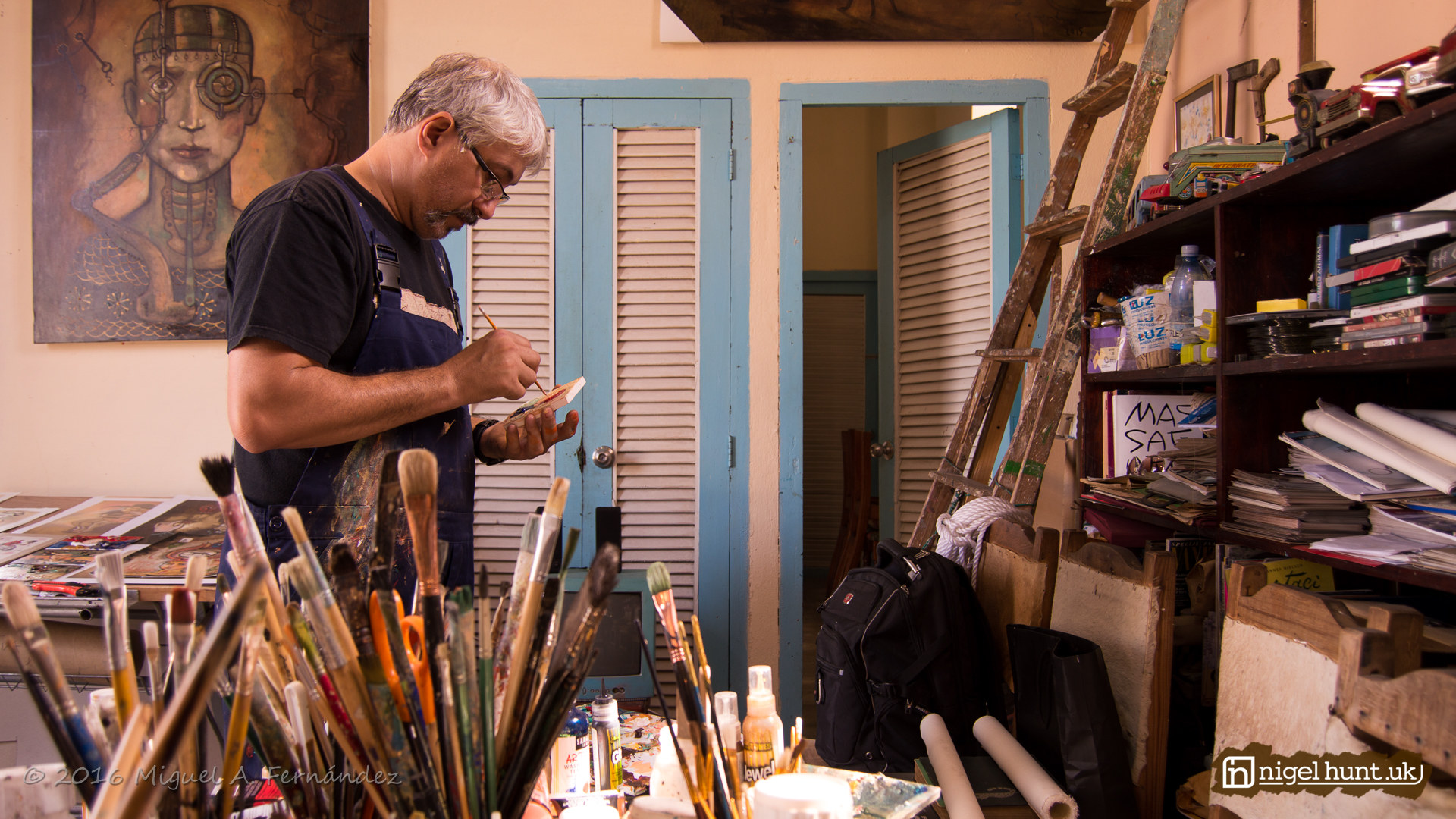 Cuban Artist Carlos Guzman in his Studio in Old Havana
